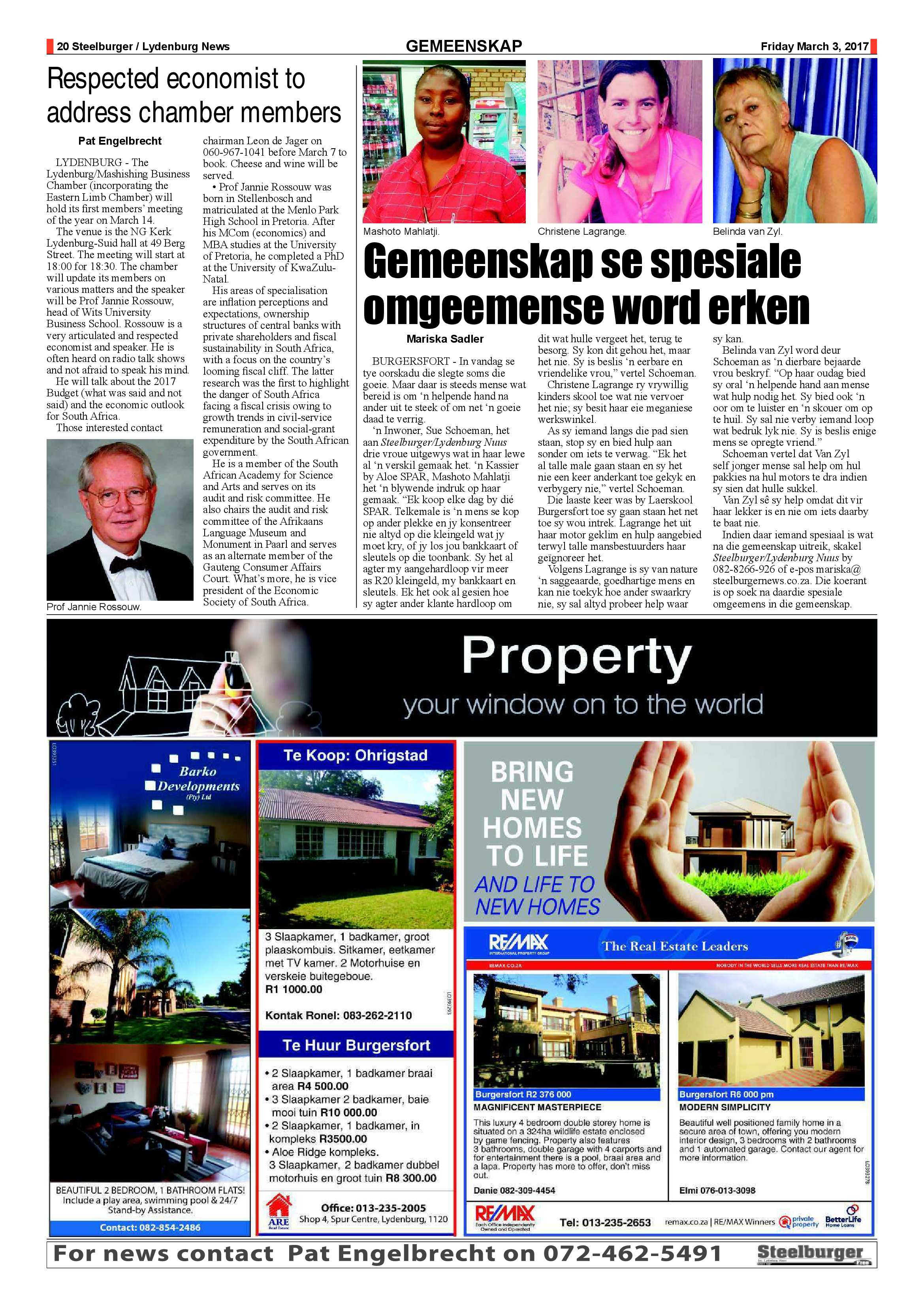 Steelburger News 3 March 2017 | Steelburger / Lydenburg News
