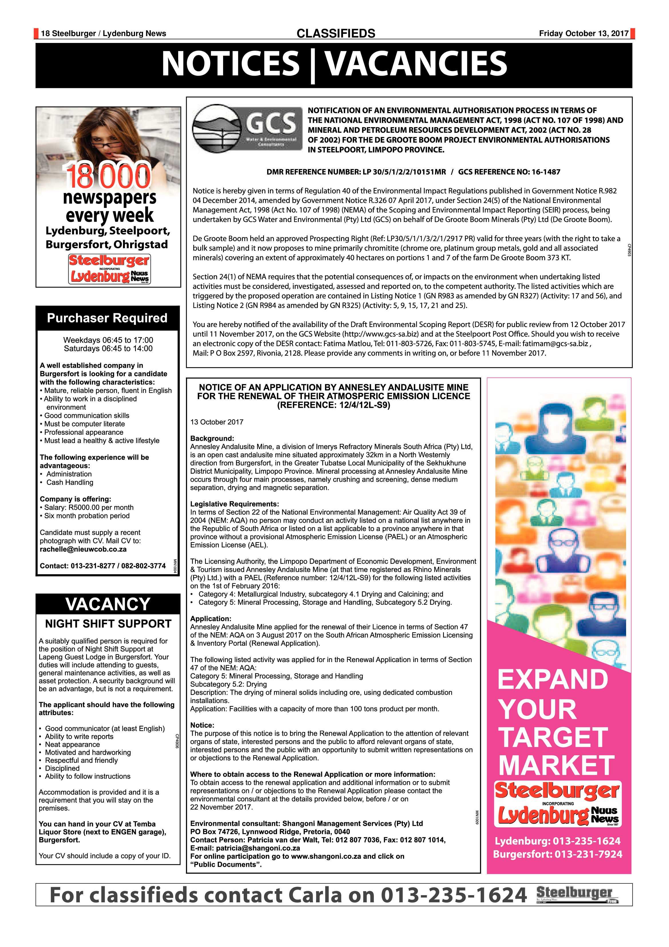 Steelburger News 13 October 2017