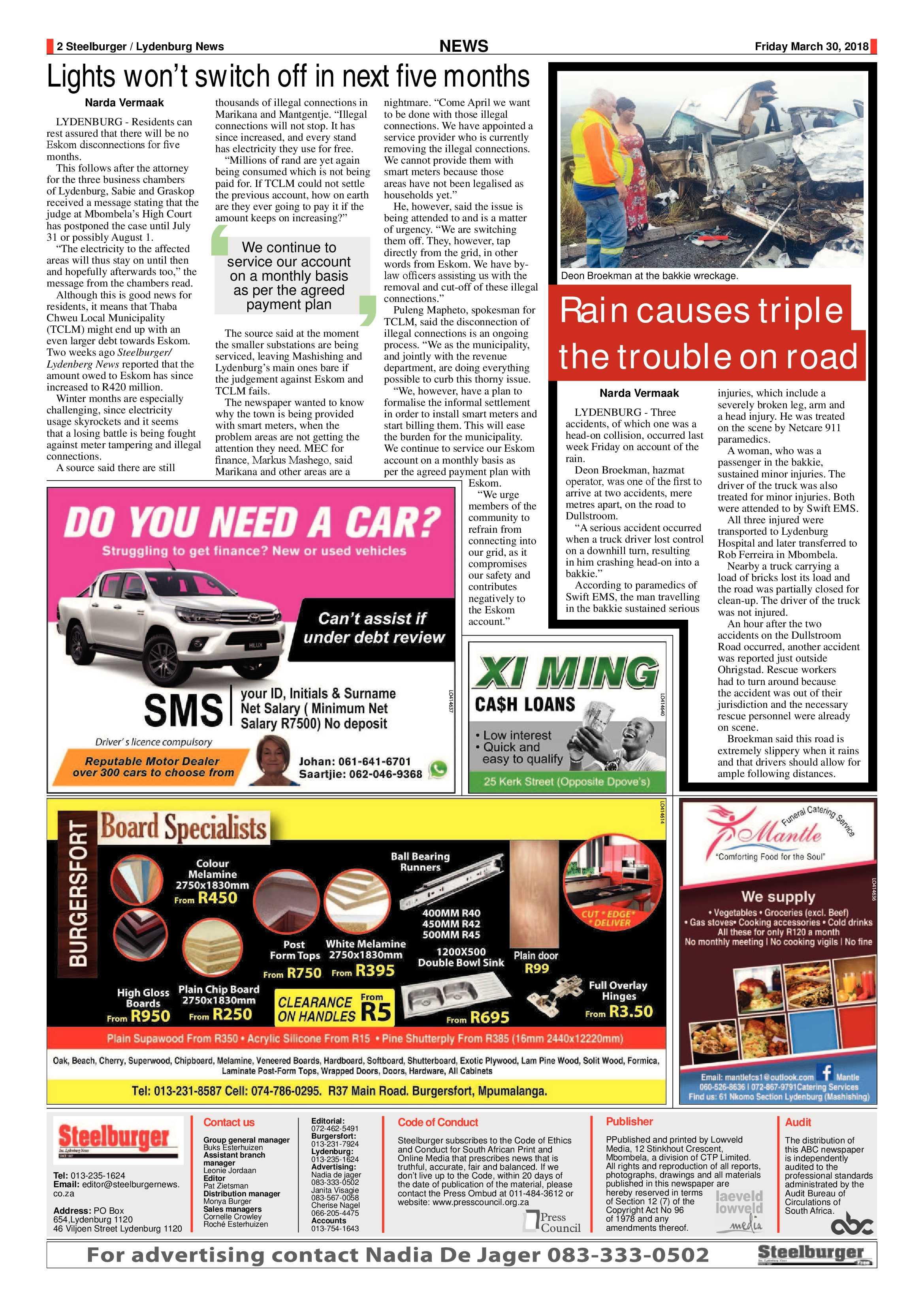 Steelburger News 30 March 2018 | Steelburger / Lydenburg News